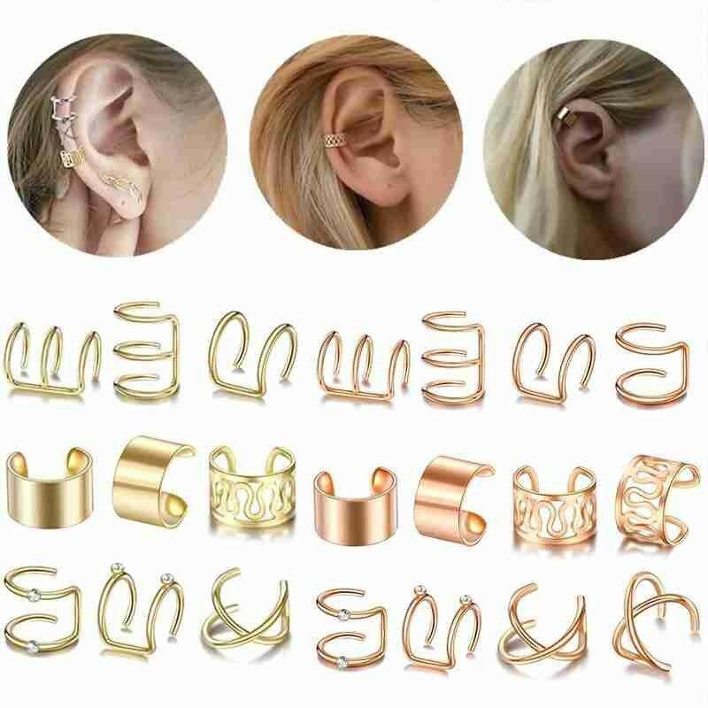 1 قطعة أزياء الذهب الفضة اللون الأذن الأصفاد كليب أقراط المتسلقين وهمية للنساء مجوهرات اكسسوارات الغضروف ثقب Earriing