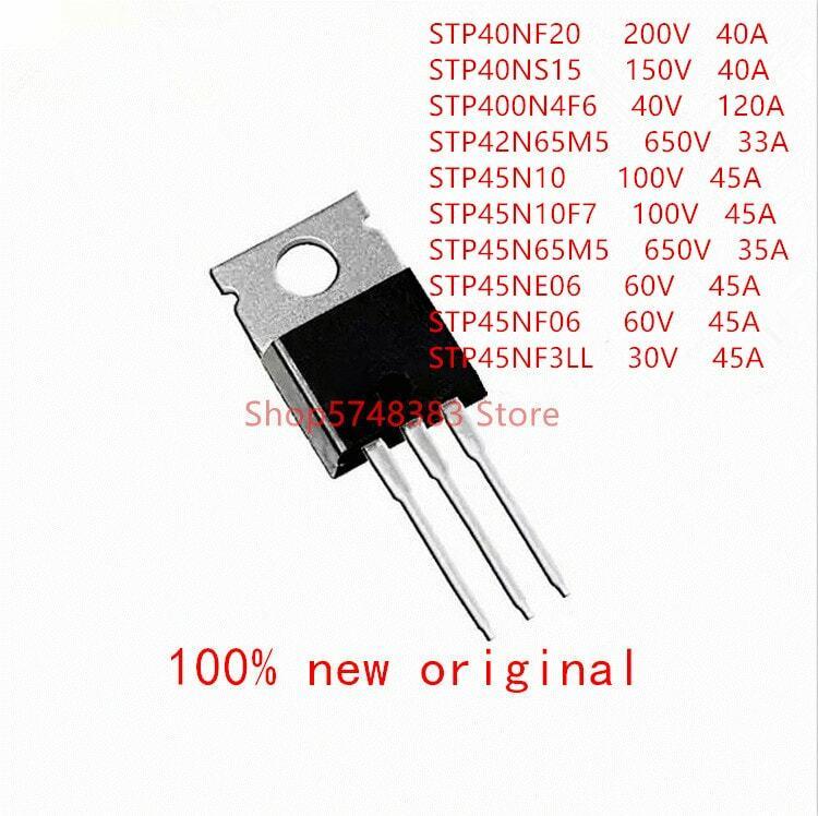 10 قطعة/الوحدة STP40NF20 STP40NS15 STP400N4F6 STP42N65M5 STP45N10 STP45N10F7 STP45N65M5 STP45NE06 STP45NF06 STP45NF3LL إلى-220