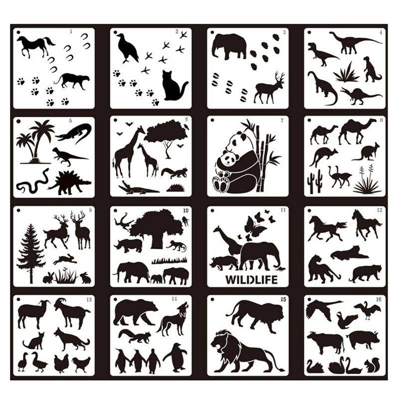 Hot البيع DIY بها بنفسك الأطفال اللوحة ديناصور الحشرات الحيوان قالب سيارة نمط الإستنسل دعوى الاطفال مجموعة رسم ألعاب تعليمية في وقت مبكر