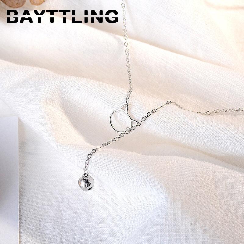 BAYTTLING 925 فضة 18 بوصة طويلة القط شرابة قلادة قلادة للنساء موضة مجوهرات الزفاف هدية حفلة