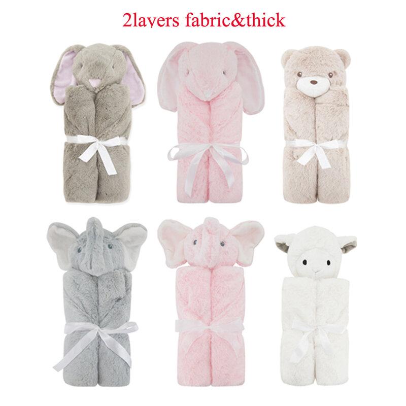 الوليد بطانية 2 طبقة الوردي الفيل أفخم Infantil التفاف للجنسين الطفل التقميط عربة بطانية Cobertor الأطفال لحاف الفراش