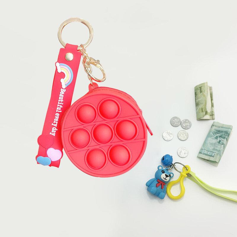 الإبداعية النساء فقاعة محفظة نسائية للعملات المعدنية ضغط الإغاثة ضغط فقاعة سلسلة أكياس تخزين ذكي اللعب الحسية