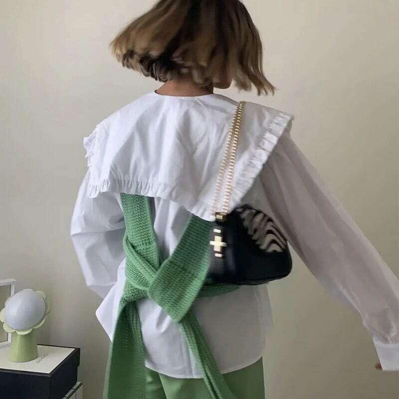 بلوزات MosiMolly Chic ذات ياقة كبيرة قميص حريمي من القطن الأبيض بلوزات مكشكشة بلوزات أساسية قمصان وبلوزات 2021 حريمي