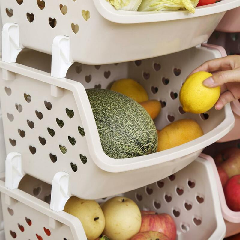 50% hotدائمة تكويم سلة التخزين جوفاء الفاكهة الخضار المنظم أداة المطبخ