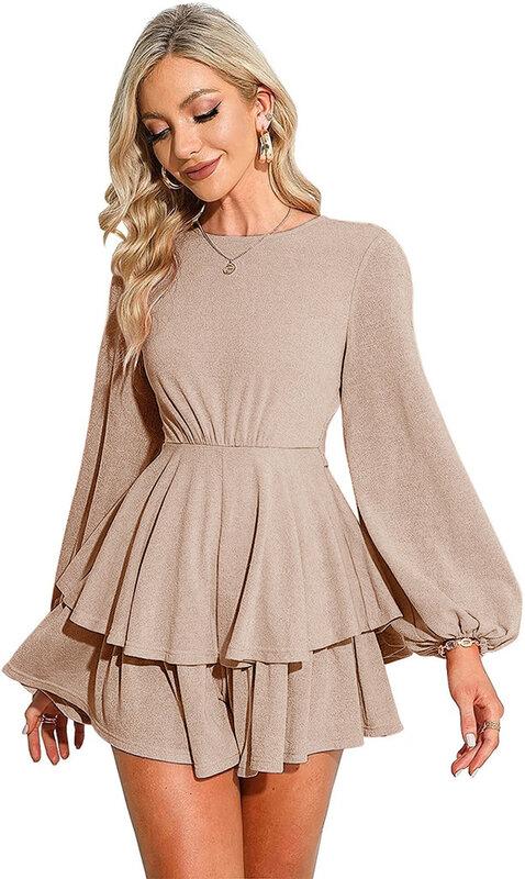 بذلة سوداء الخريف بلون فانوس بأكمام طويلة الحمالات تكدرت المرأة قصيرة عادية كولوتيس 2021 ملابس عصرية