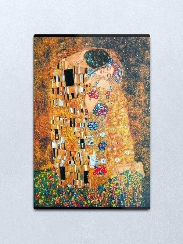 غوستاف كليمت قبلة المعادن طباعة جدار الفن ديكور جدران المنزل تين تسجيل الجدار الديكور ريفي ديكور المنزل ريفي ديكور المنزل