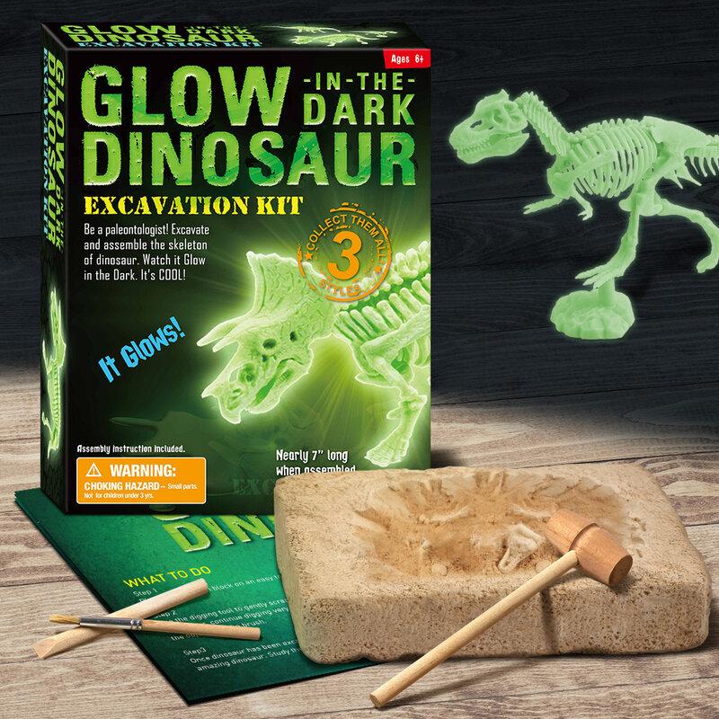 ديناصور الفلورسنت للأطفال اللعب حفر خارج عدة دينو الحفر الأطفال رياض الأطفال قلادة متوهجة ومضيئة في اللعب المظلمة