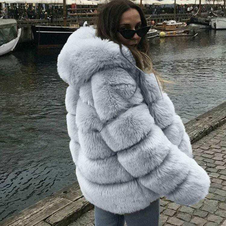معطف نسائي متوسط الطول من فرو الثعلب المقلد ، جاكيت عصري بغطاء للرأس بأكمام طويلة ، 2020