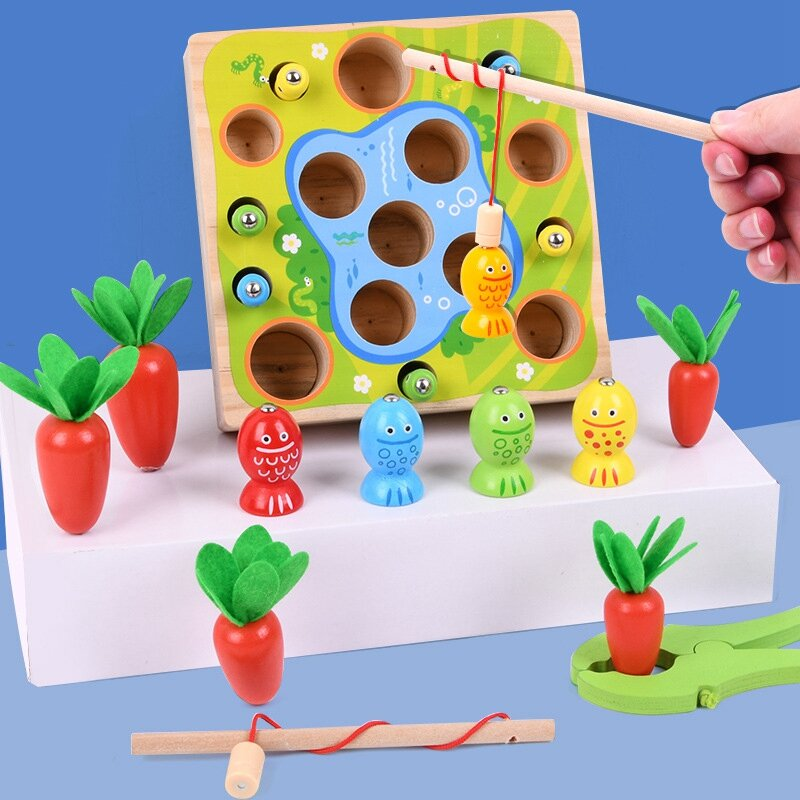 2 في 1 لعبة صيد جزر خشبية ، ألعاب تعليمية للأطفال الصغار