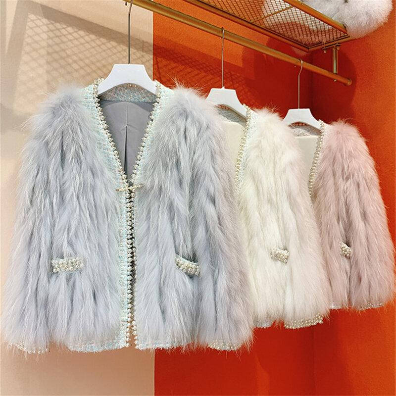 2021 النساء الشتاء سميكة الدافئة ريال فوكس الفراء سترة معطف الموضة الدافئة الإناث الطبيعية الثعلب الفراء معاطف مع اللؤلؤ السيدات أبلى