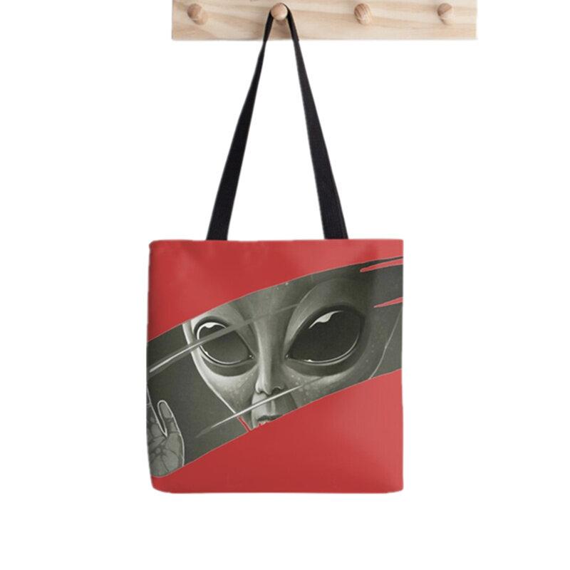 المرأة المتسوق حقيبة في البحر نمط المطبوعة Kawaii حقيبة Harajuku التسوق قماش المتسوق حقيبة فتاة حقيبة حمل الكتف سيدة حقيبة