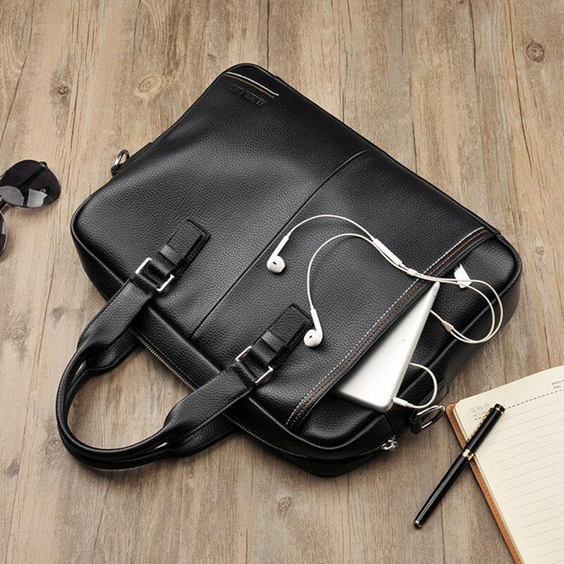 جديد الأعمال حقيبة يد حقائب السفر للرجال جودة عالية جلد الرجال حقيبة سوداء الذكور حقيبة كتف سعة كبيرة محمول حمل