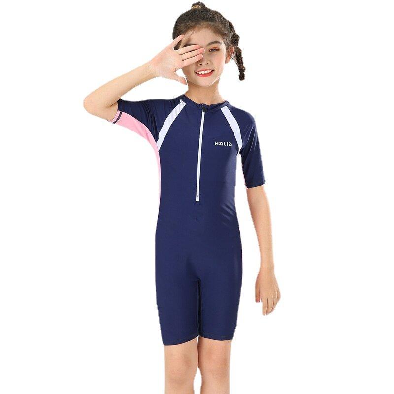 جديد الجبهة زيبر قطعة واحدة ملابس السباحة قصيرة الأكمام ثوب السباحة الفتيات ملابس سباحة للأطفال الأولاد لباس سباحة للأطفال طفل Rashguard