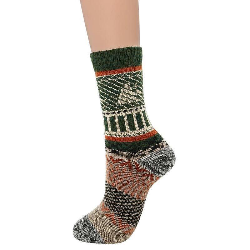 جوارب قطنية نسائية بنمط عتيق ، جوارب مطبوعة هندسية ، ناعمة ، دافئة ، سميكة ، محبوكة من الصوف البارد ، مريحة ، رائعة