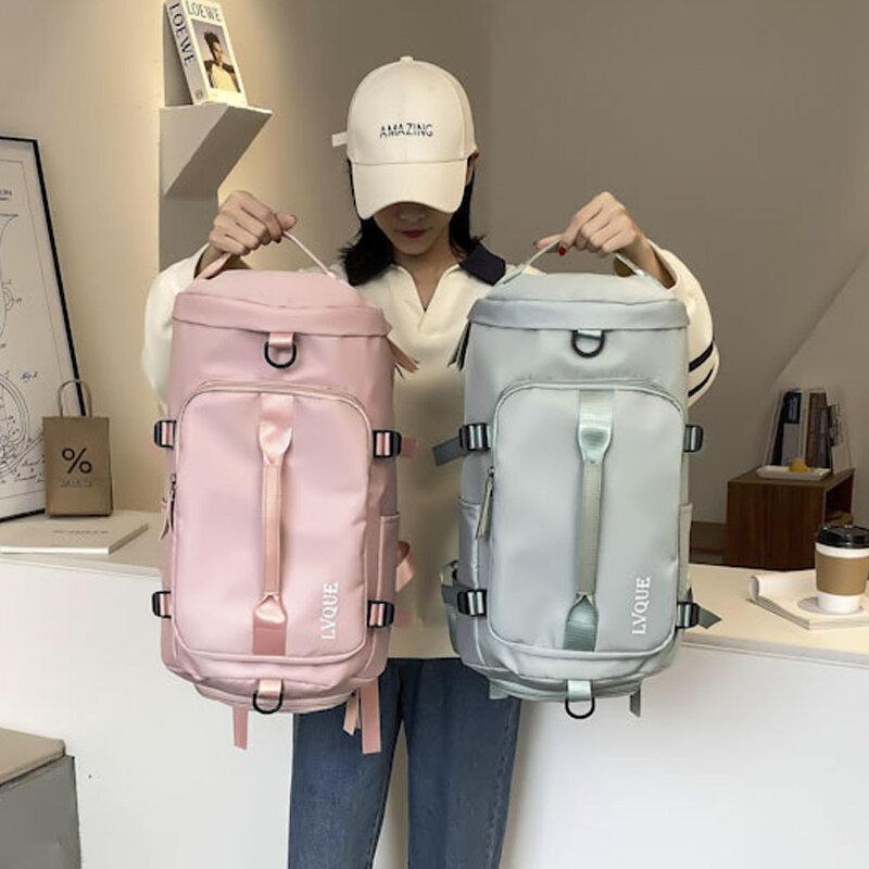 عالية السعة حقائب السفر موضة جديدة المرأة على ظهره حقائب اليد الأمتعة في الهواء الطلق مقاوم للماء أكسفورد القماش حقيبة كتف الجافة والرطبة
