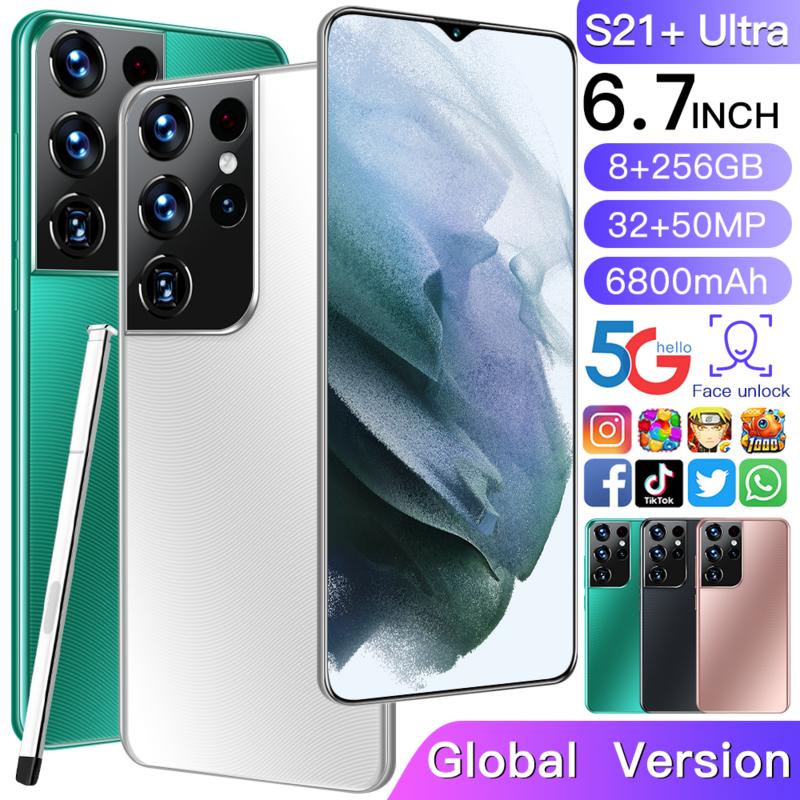 S21 + Ultra الإصدار العالمي هاتف ذكي مفتوح 6.7 ''كامل HD شاشة 8 + 256 GB الهاتف المحمول Android11.0 10 Core الهواتف 2021 جديد