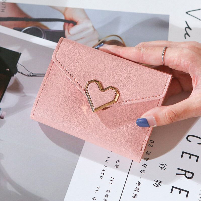 محافظ النساء خمر معدنية على شكل قلب المحافظ أكياس المال قصيرة حامل بطاقة السيدات الصغيرة جيوب عملة صغيرة carteras para mujer