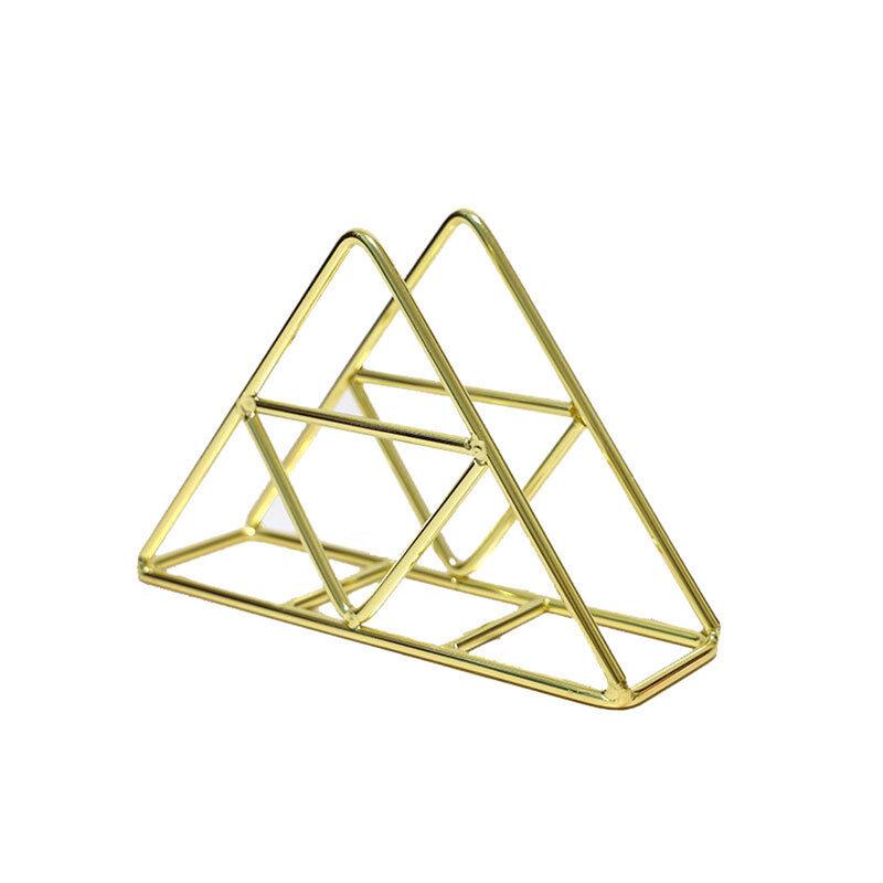 أحدث وصول حامل المناشف الورقية ، الجوف خارج مثلث تخزين الرف سطح المكتب ديكور للمنزل مطعم ، الذهب/الذهب الوردي