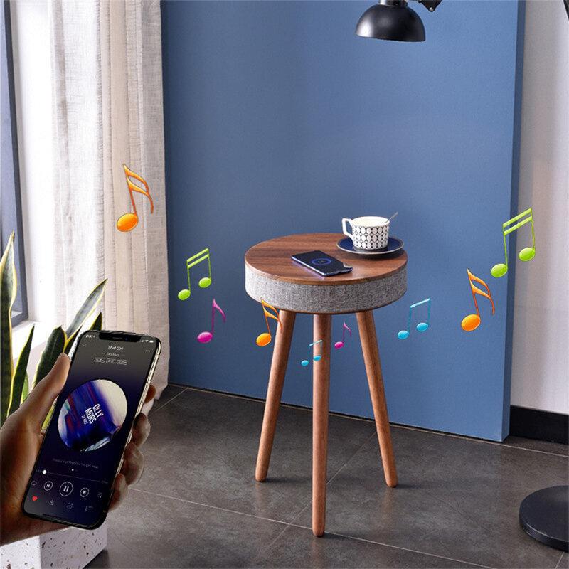 طاولة القهوة الذكية سمّاعات بلوتوث طاولة قهوة صغيرة الهاتف المحمول اللاسلكية شحن الإبداعية أريكة الجانب طاولة مستديرة صغيرة