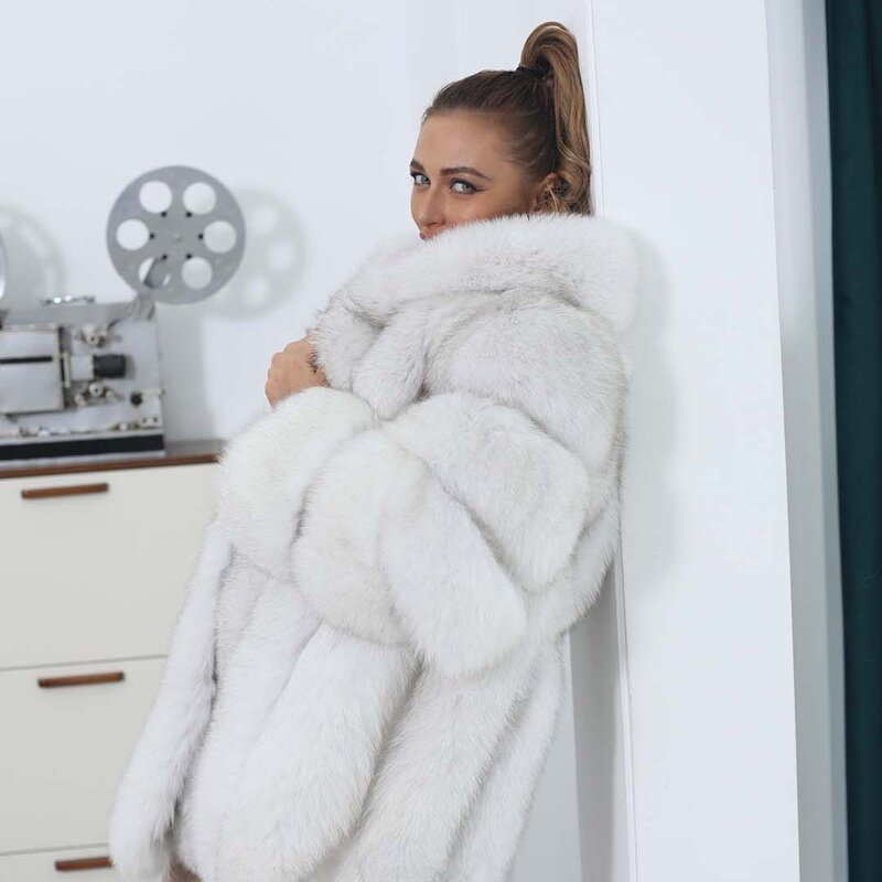 شريط عمودي ريال فوكس معطف الفرو الإناث مقنعين معطف طويل المرأة مخصص Xxxxxl