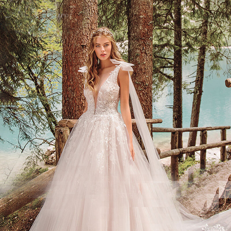 Macduغال بسيط أنيق مثير تول عميق الخامس الرقبة بلا أكمام عارية الذراعين ثوب زفاف 2021 رداء دي ماريج