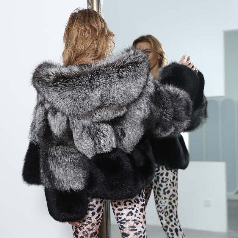 معطف شتوي دافئ من الفرو الطبيعي للنساء مزود بغطاء للرأس من الثعلب الفضي ملابس نسائية خارجية مصنوعة حسب الطلب Xxxxxl