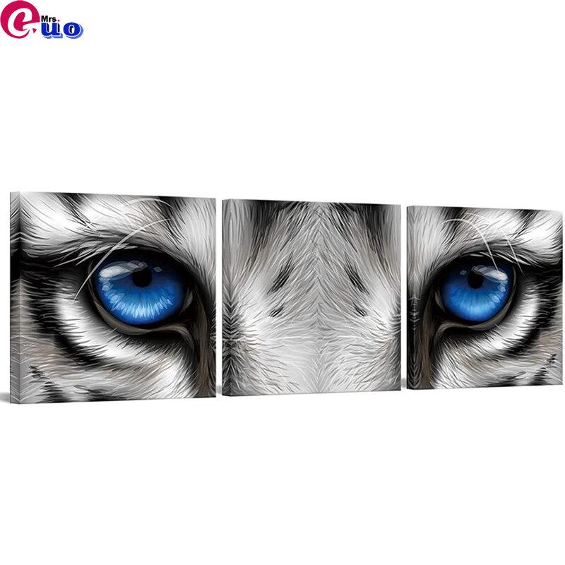 3 قطعة 5d Diy بها بنفسك الماس اللوحة أبيض وأسود النمر رئيس الأزرق عيون الماس التطريز الحفر الكامل الماس فسيفساء اللوحة الحيوان