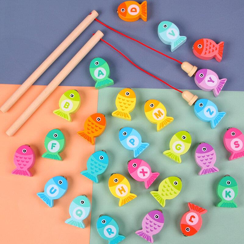طفل ألعاب مونتيسوري خشبية الصيد تعلم عدد إلكتروني اللعب التعليمية لغز التدريس المعونة التعليم لعب للأطفال هدية