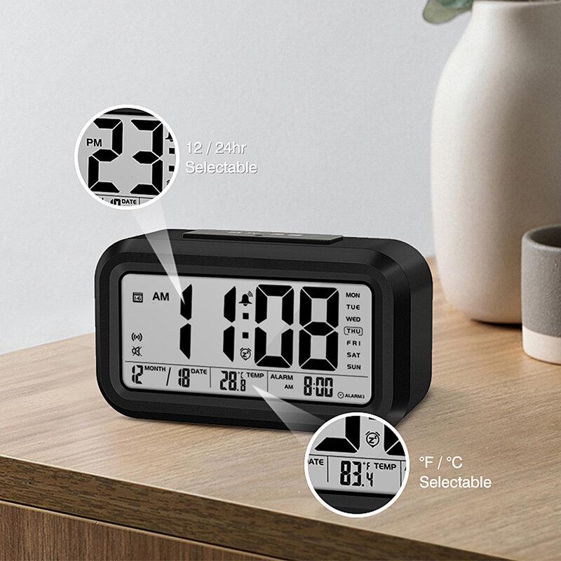 الإنجليزية يتحدث يتحدث على مدار الساعة غرفة نوم رقمية يستيقظ ساعة تنبيه مع ميزان الحرارة درجة الحرارة ، والتقويم ، غفوة ، والإضاءة الخلفية