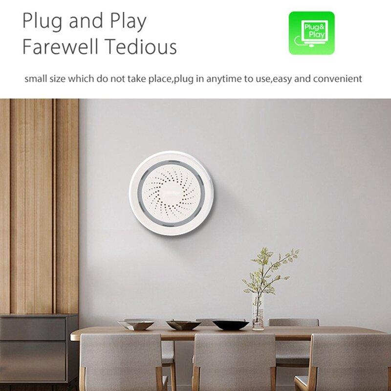 صفارة إنذار ذكية 120DB ، wi-fi ، USB ، أبيض ، مع ضوء قوي ، مع جهاز تحكم عن بعد ، تطبيق