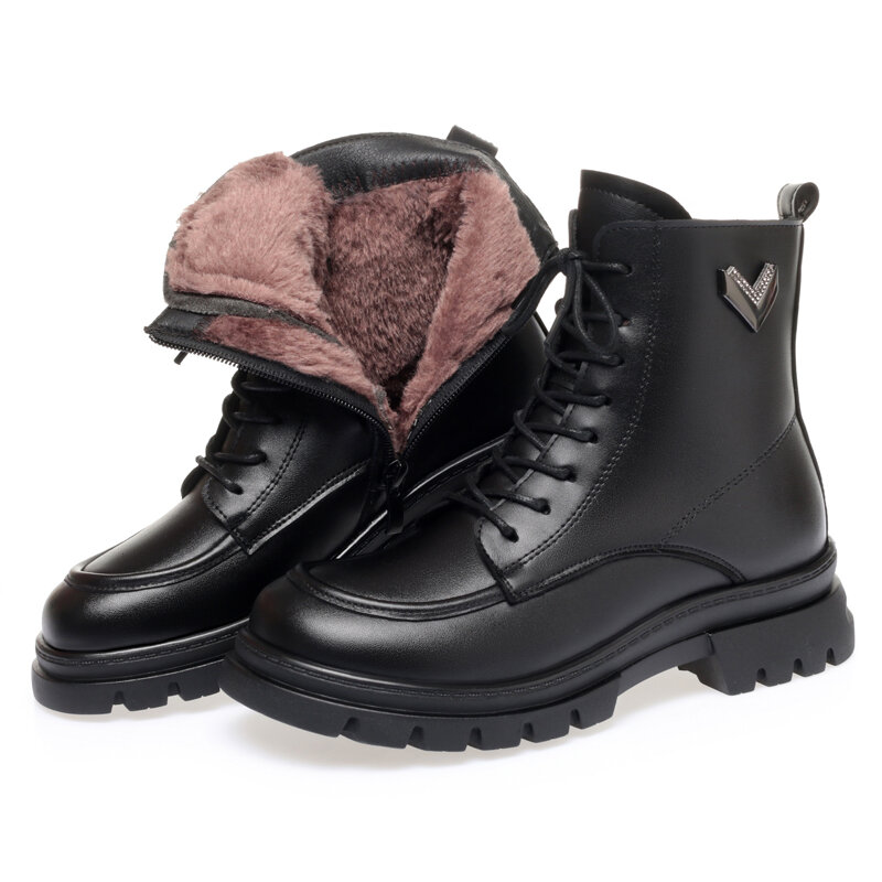 AIYUQI النساء الشتاء الأحذية الدافئة 2021 جديد النمط البريطاني سميكة سوليد المرأة مارتن الأحذية سميكة الصوف المرأة دراجة نارية الأحذية