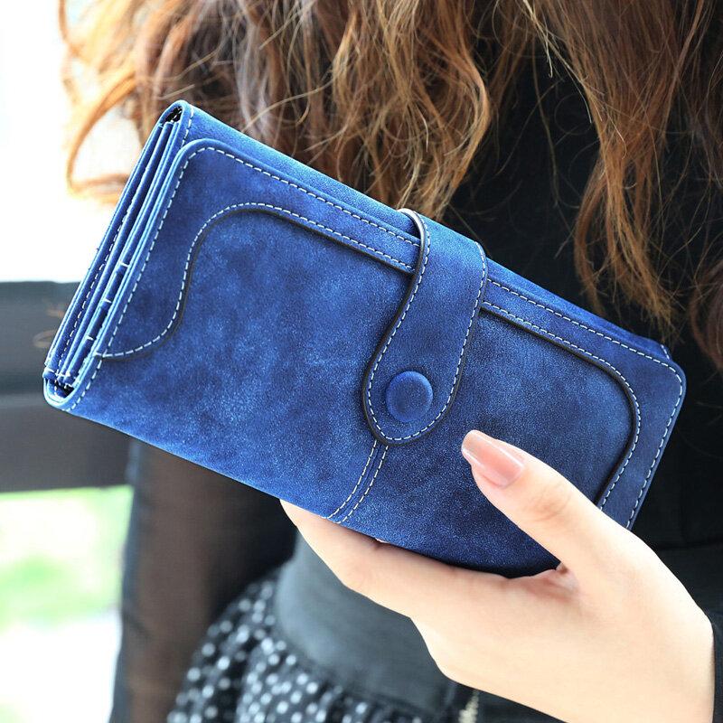 العديد من الإدارات فو الجلد المدبوغ محفظة طويلة النساء ماتي جلد سيدة محفظة عالية الجودة الإناث محافظ حامل بطاقة Carteras مخلب