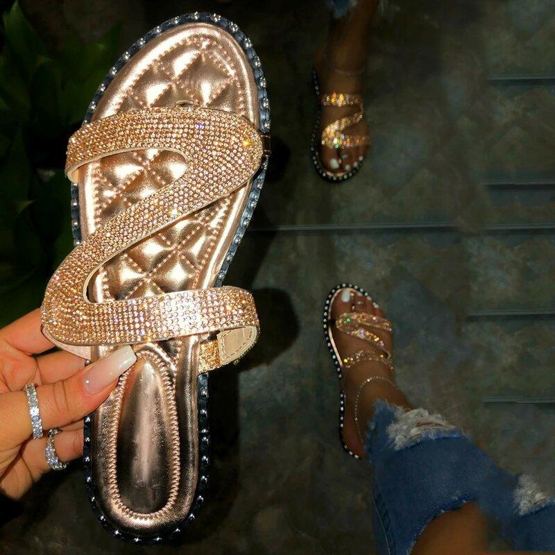 الصيف النساء حجر الراين الانزلاق على المفتوحة تو شقة تنفس الصنادل أحذية الشاطئ أحذية مفتوحة المفتوحة تو الصنادل شفافة الأحذية