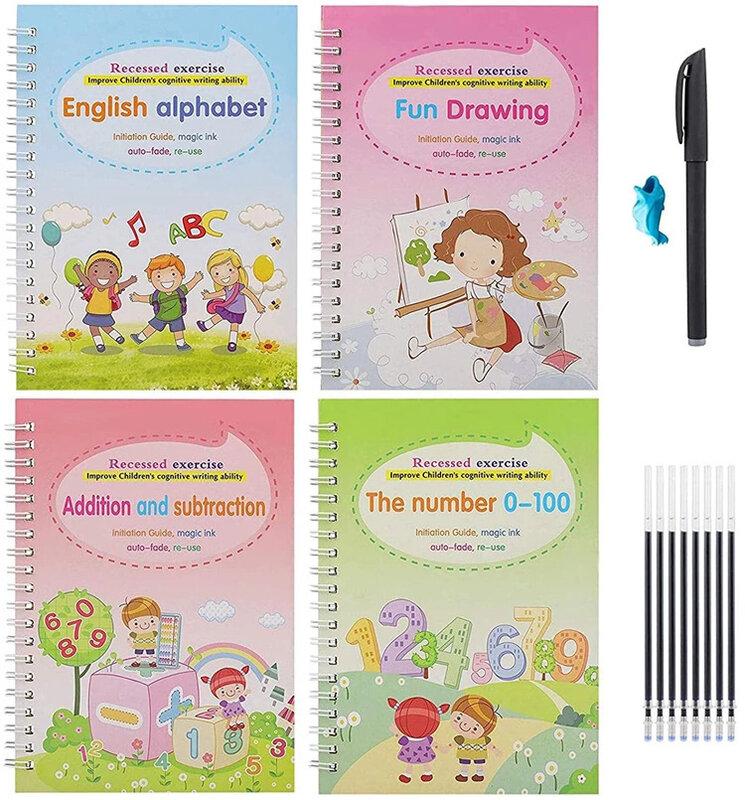 4 كتب الأطفال كتاب الكتابة اليدوية بتقويم العظام قابلة لإعادة الاستخدام كتب سحرية للخط كتب الخط الخط الصيني