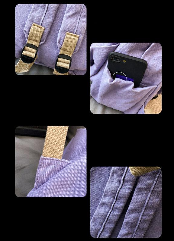 حقيبة ظهر قطنية للمراهقين ، على الطراز الكوري ، سريعة ، عصرية ، للطلاب ، غير رسمية ، قماش الشارع ، كتاب مدرسي ، حقيبة نهارية يومية ، 2021