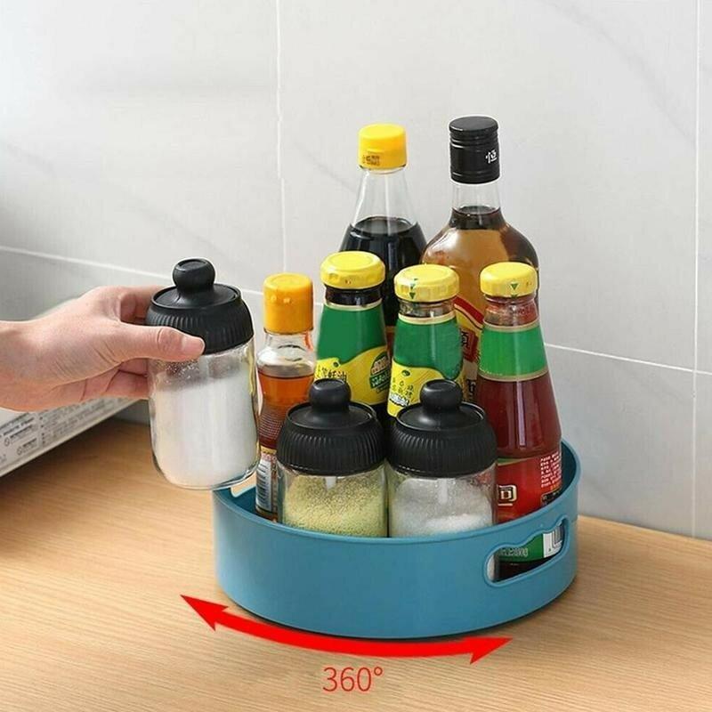 360 الدورية صينية المطبخ حاويات لتخزين التوابل جرة الغذاء وجبة خفيفة صينية الحمام التجميل صينية غير زلة تخزين لوحة أدوات
