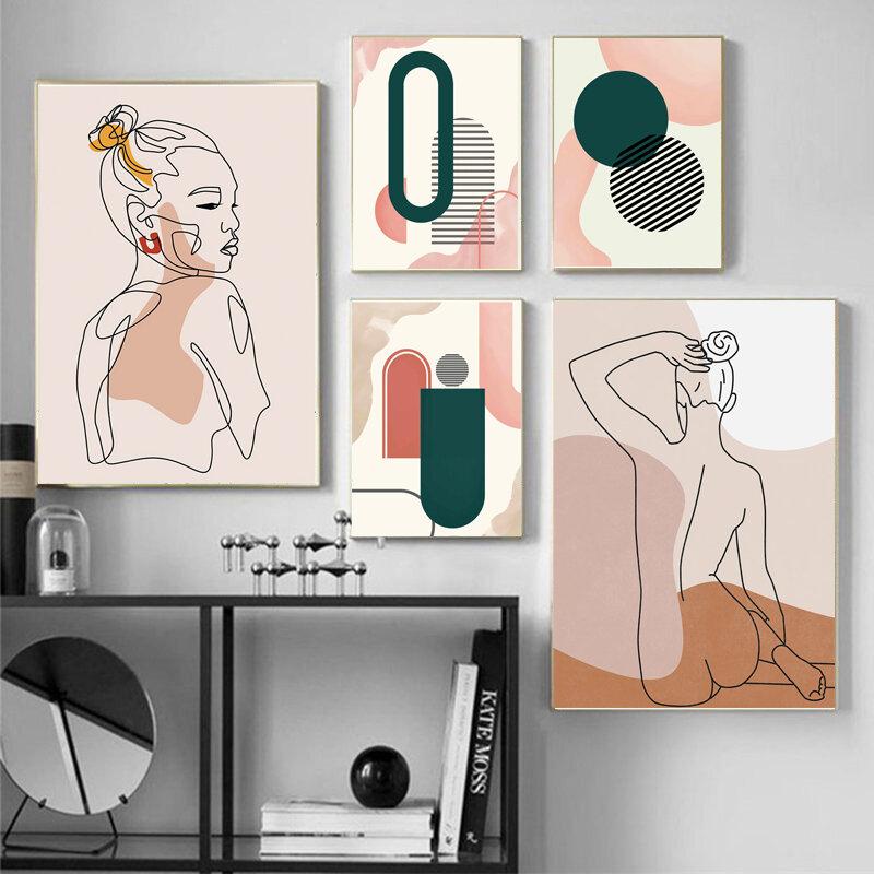 خطوط مجردة فتاة مستديرة قوس الهندسة الرسم على لوحات القماش الجدارية الشمال الملصقات و يطبع جدار صور لغرفة المعيشة ديكور