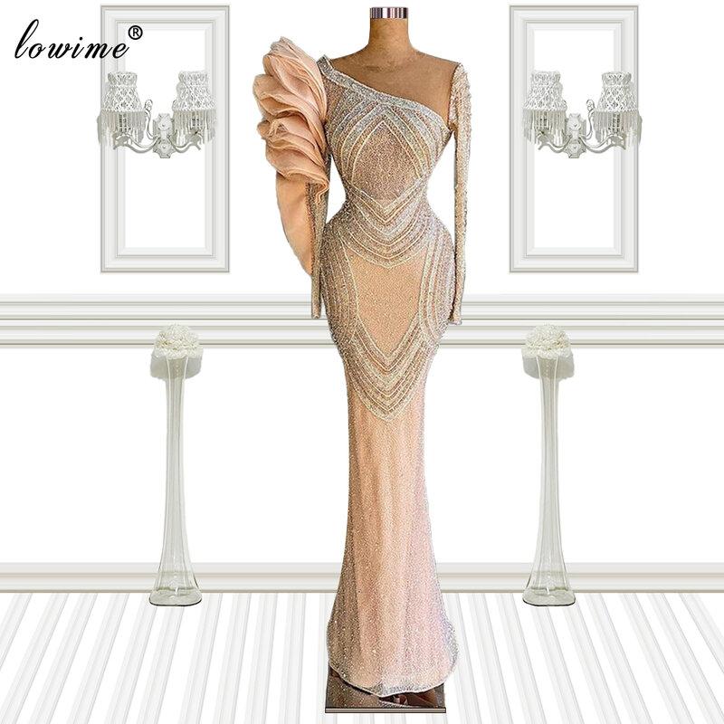 فساتين المشاهير بأكمام طويلة من الخرز 2021 حورية البحر دبي فساتين السجادة الحمراء فستان سهرة فساتين حفلات الزفاف للنساء