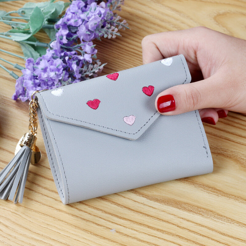 Tassel Women Small Wallets Ladies Short Card Holder Soft Leather Money Pockets for Female Coin Purses with Hasp porte monnaie