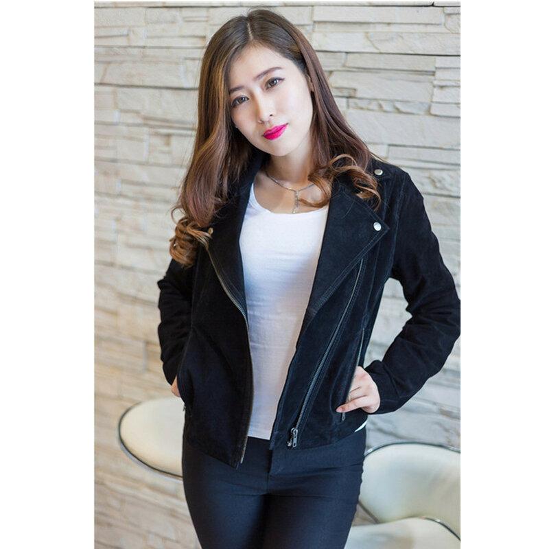 Srping-معطف جلد أصلي للنساء ، ملابس غير رسمية ، نحيف ، أسود ، جودة عالية