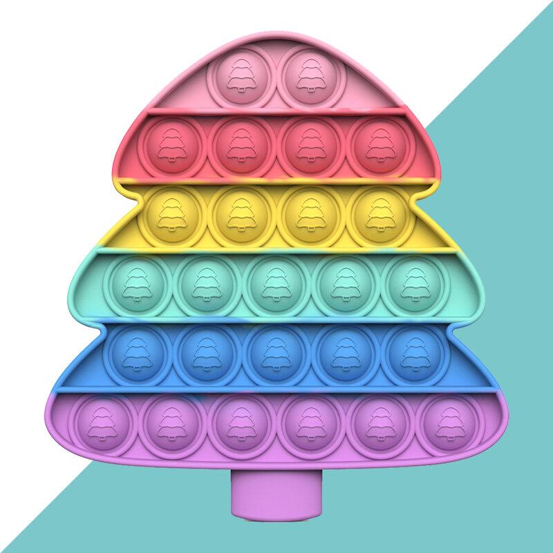 ماكرون شجرة عيد الميلاد دفع فقاعة ألعاب متململة الحسية التوحد الإجهاد المخلص ضد الإجهاد لعبة بسيطة منع ألعاب أطفال الكبار