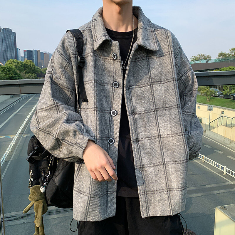 معطف رجالي من الصوف لفصل الربيع والخريف موضة 2021 ، تصميم كوري ، معطف فضفاض غير رسمي للرجال