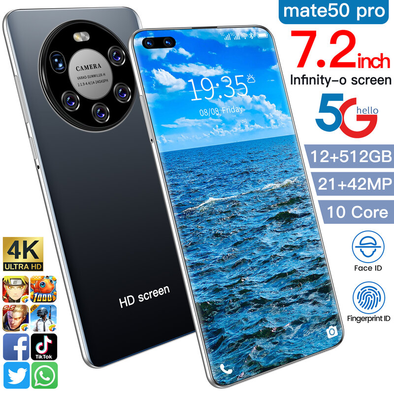 2021 أحدث هاتف ذكي Mate 50 Pro 12Gb Ram 512Gb Rom المزدوج سيم هاتف ذكي مفتوح أندرويد 10.0 عشاري النواة 4G/5G الهواتف المحمولة