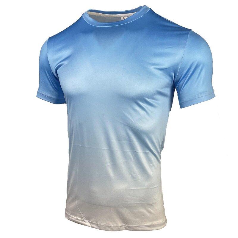 الصيف يجب أن يكون عادية قصيرة الأكمام تي شيرت ملابس للرجال العلامة التجارية العصرية التدرج اللون الجولة الرقبة تمتد حجم كبير فضفاض
