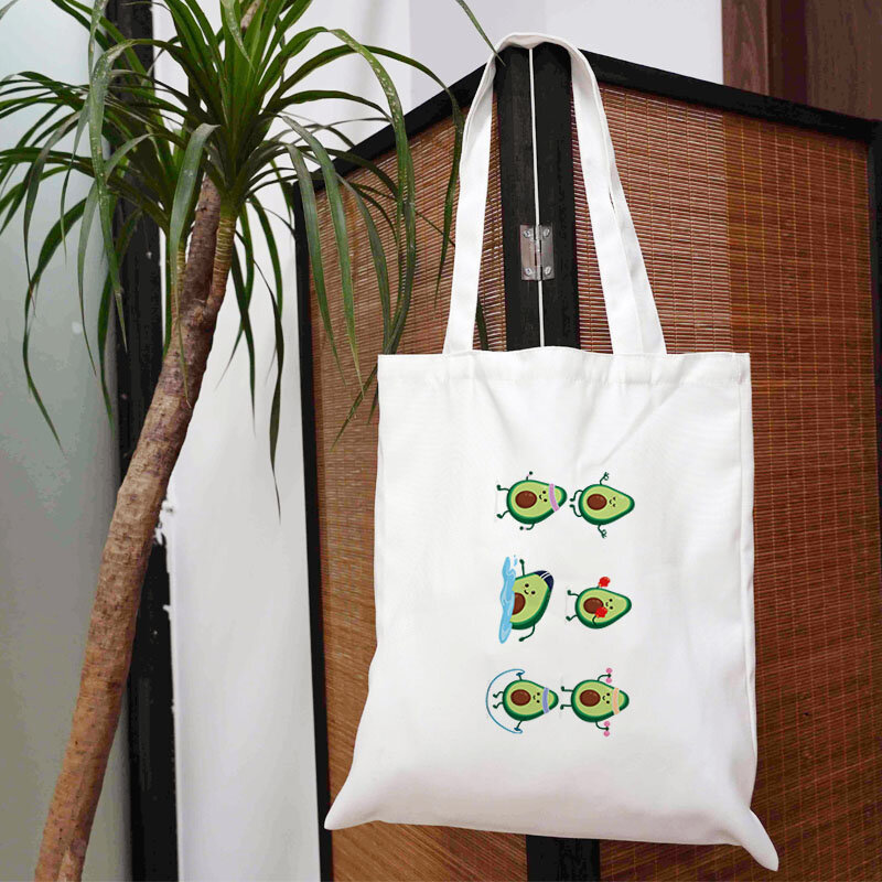 حقيبة الفاكهة الأفوكادو النسائية حقائب تسوق لمحلات البقالة المتسوق حقيبة يد مصمم حقائب اليد 2021 حمل أنيمي الكتف قماش العلامة التجارية