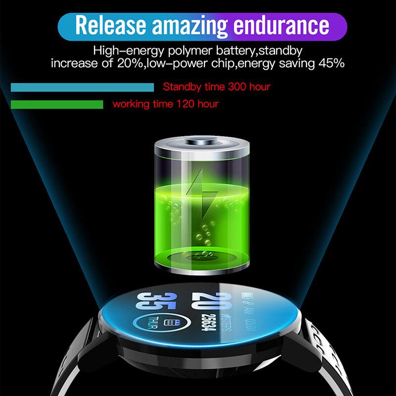 ساعة ذكية 119S بلوتوث متوافق جهاز تعقب للياقة البدنية الرياضة ساعة مراقب معدل ضربات القلب ضغط الدم سوار ذكي ساعة ذكية