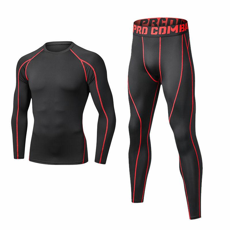 طقم رياضي رجالي مضغوط للجري 2 قطعة بدلات رياضية للركض كرة السلة ملابس داخلية ضيقة ملابس رياضية ملابس لياقة بدنية للصالة الرياضية