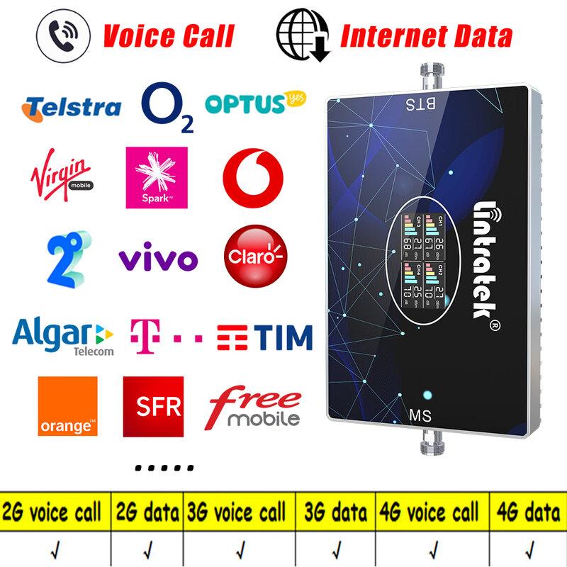 Lintratek 700mhz B28 أربعة الفرقة مكرر إشارة GSM LTE UMTS CDMA الخلوية مكبر للصوت 2G 3G 4G 900 1800 2600 800 B20 الداعم عدة