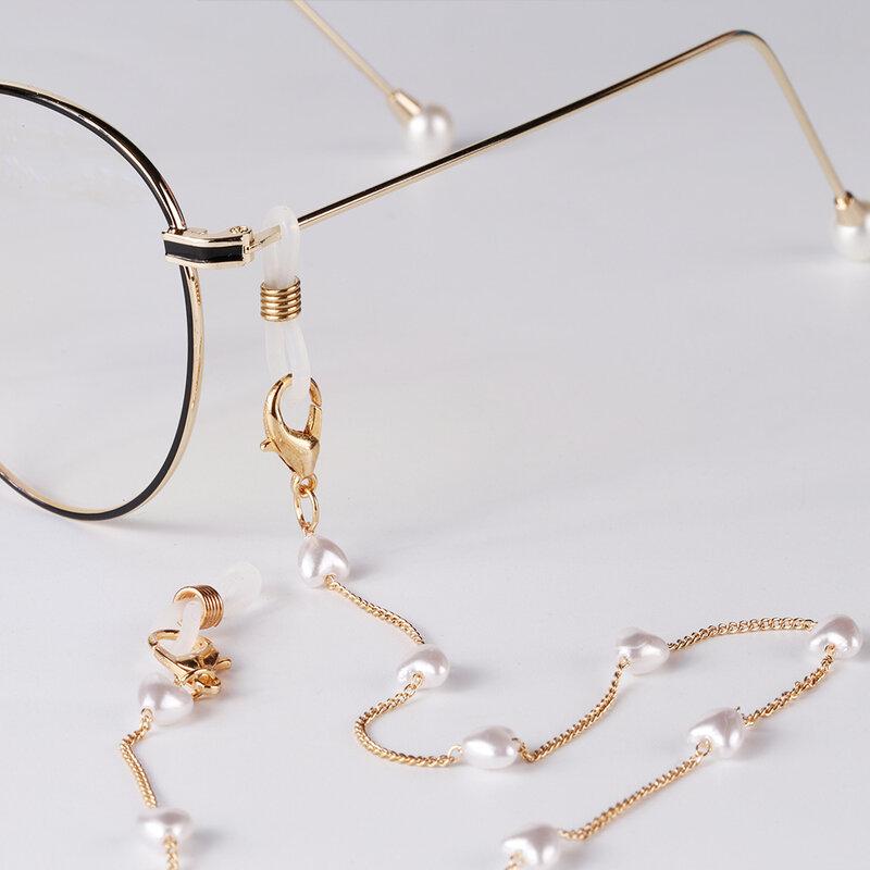 موضة المعادن الذهب ستار القلب سلسلة النظارة قناع للنساء الحبل اللؤلؤ الحب مطرز قلادة النظارات الأشرطة اكسسوارات