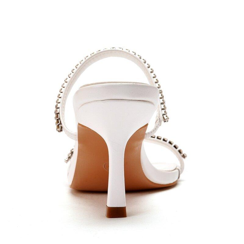 أحذية نسائية رأس مربع أسود حجر الراين زينة عالية الكعب الصنادل
